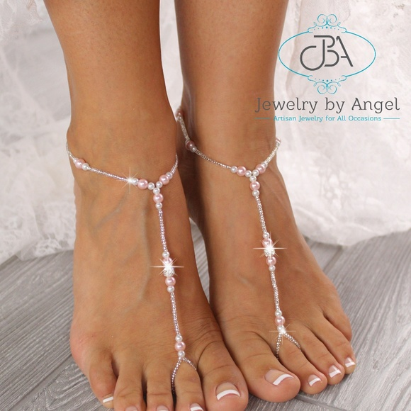1dca2b7472f88 Pearl Barefoot Sandals Bridal Foot Jewelry Anklets Boutique